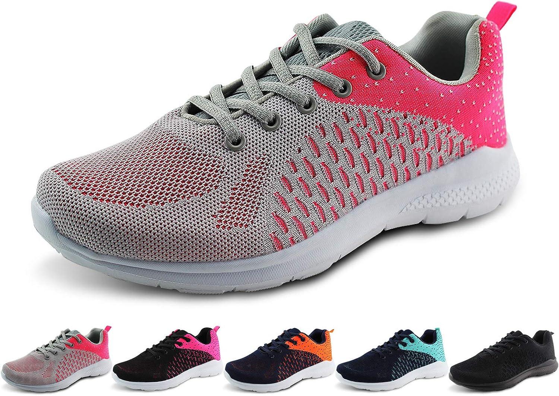 Jabasic Women Lightweight Road Running Knit shoes Casual Mesh Walking Sneakers