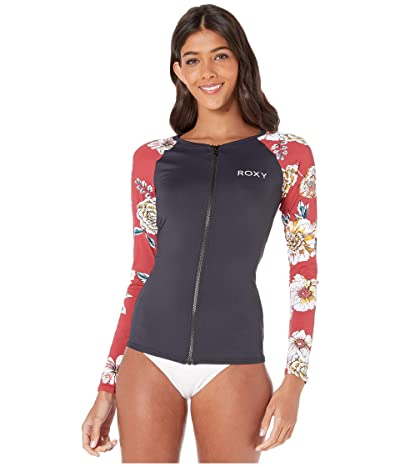Roxy Sunny You Long Sleeve Zip Rashguard (Deep Claret Swim Sept) Women