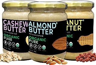 d alive Peanut Butter + Cashew Butter + Almond Butter (Unsweetened) Organic Pure - 500g each (USDA Organic Certified, Arti...