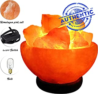 Real Himalayan Pink Salt Lamp - Genuine Wood Base with On and Off Switch/Dimmer - 5-7 Lbs Bulb with 6-8 Inches UL Electric Corded (Fire Bowl)
