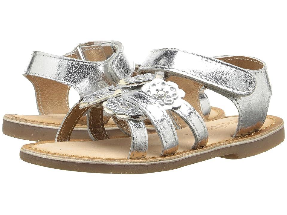 Pazitos Mini Burst Sandal (Toddler) (Silver) Girls Shoes