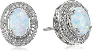 Sterling Silver Created Opal Oval with Diamond Stud Earrings
