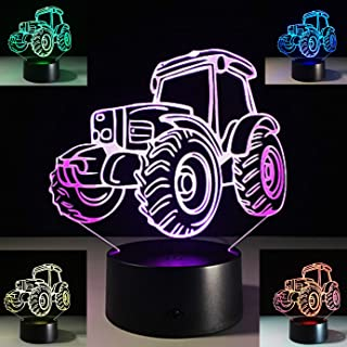 SUPERNIUDB 3D Tractor Night Light 3D LED USB 7 Color Change LED Table Lamp Xmas Toy Gift