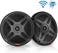 6.5 Inch Dual Marine Speakers - Waterproof and Bluetooth Compatible 2-Way Coaxial Range Amplified Audio Stereo Sound System with Wireless RF Streaming and 600 Watt Power - 1 Pair - PLMRF65MB (Black)