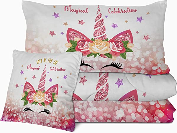 Sleepwish Kids Unicorn Comforter Set 3D Unicorn Eye Lash Print Bedding With 2 Pillow Shams And 1 Cushion Cover Unicorn Pattern 4 Pieces Pink Glitter Reversible Comforter For Girls Queen