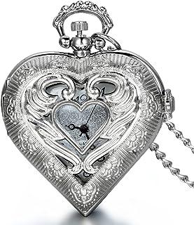 JewelryWe Vintage Silver Tone Heart Locket Style Pendant Pocket Watch Necklace for Girls Lady Women, 30 inch Chain