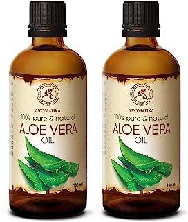 Aceite de Aloe Vera 2x100ml - Aloe Barbadensis - Brasil - 100% Natural 200ml - Botella de Cristal - Cuidado Intensivo para el Rostro - Cuerpo - Masaje - Cosmético para el Cuidado Corporal