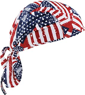 Ergodyne Chill-Its 6615 Absorptive Moisture-Wicking Dew Rag, Stars and Stripes