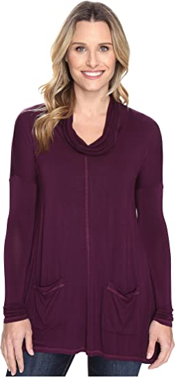 Rayon Spandex Jersey Pullover Cowl Funnel Tunic