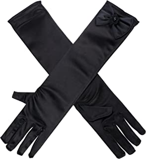 Kids Girls Multi-use Gloves Long Satin Princess Dress-up Diamonds Bows Gloves for Performance Party Photography Ball
