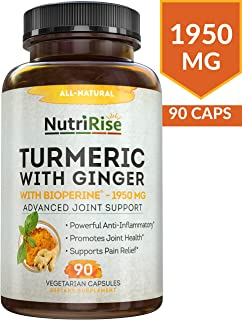 Turmeric Curcumin Supplement with Ginger & BioPerine Black Pepper Extract - Best Joint Pain Relief, Anti-Inflammatory, Antioxidant & Anti-Aging Support. Non-GMO, Vegan & Gluten-Free Turmeric Capsules
