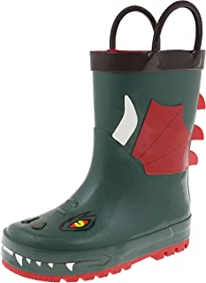 Capelli New York Toddler Boys Shiny Camo Printed Rubber Rain Boot with Handles