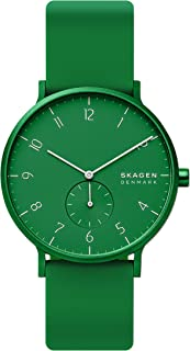 Skagen Men's Aaren Quartz Watch with Silicone Strap, Green, 20 (Model: SKW6545)