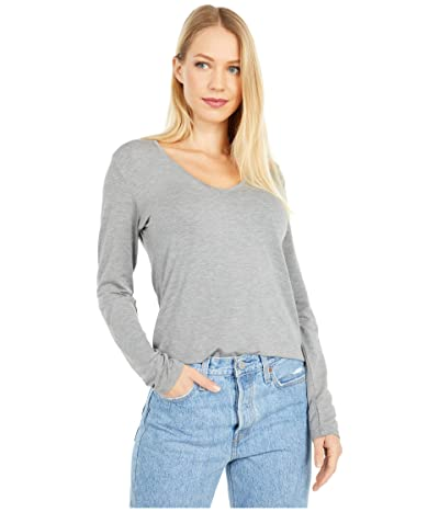 Majestic Filatures Long Sleeve Flat Edge V-Neck Tee (Gris Chine) Women