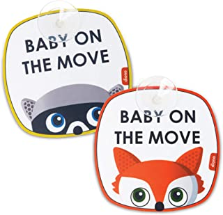 Diono Baby on The Move 2 Pack of Baby On Board Car Window Stickers with Suction Cups