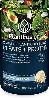 PlantFusion Complete Plant Based Keto Blend  1:1 Fats + Protein Powder Drink, Ketogenic Diet Supplement, MCTs, No Sugar, Gluten Free, Non Dairy, Vegan, Non Soy, Non GMO   Vanilla Bean, 10.58 Oz