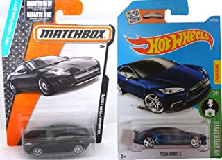 Jaguar Matchbox & Tesla Model S Set Hot Wheels #241 2016 HW Green Speed + Jaguar New Model F-Type Coupe PROTECTIVE CASES