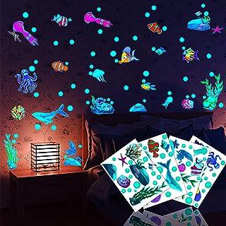 Autocollants Lumineux,4PCS Fluorescents Stickers-Motif Poissons marins-Décoration murale pour Salle Classe-Dure 4 à 6Heure...