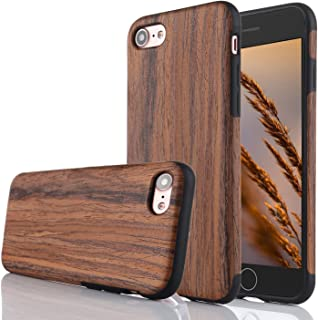 for iPhone 6 Case,iPhone 6S Case,L-FADNUT Premuim Handmade Wooden Hybrid Back Flexible TPU Silicone Ultra Slim Back Case,Shock Absorbing Bumper Protective Case Cover-Purple Sandalwood