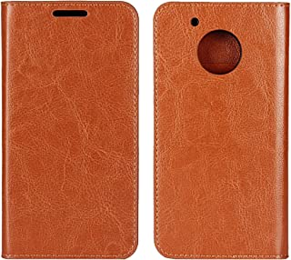Moto G5 Plus Case, Jaorty Genuine Leather Folio Flip Wallet Case Cover Book Design with Kickstand Feature with Card Slots/Cash Compartment for Motorola Moto G5 Plus (5.2