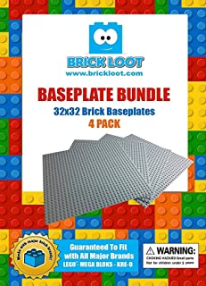 4 Pack Lot AAA+ Grey Color Baseplates 32x32 Dots / Studs...