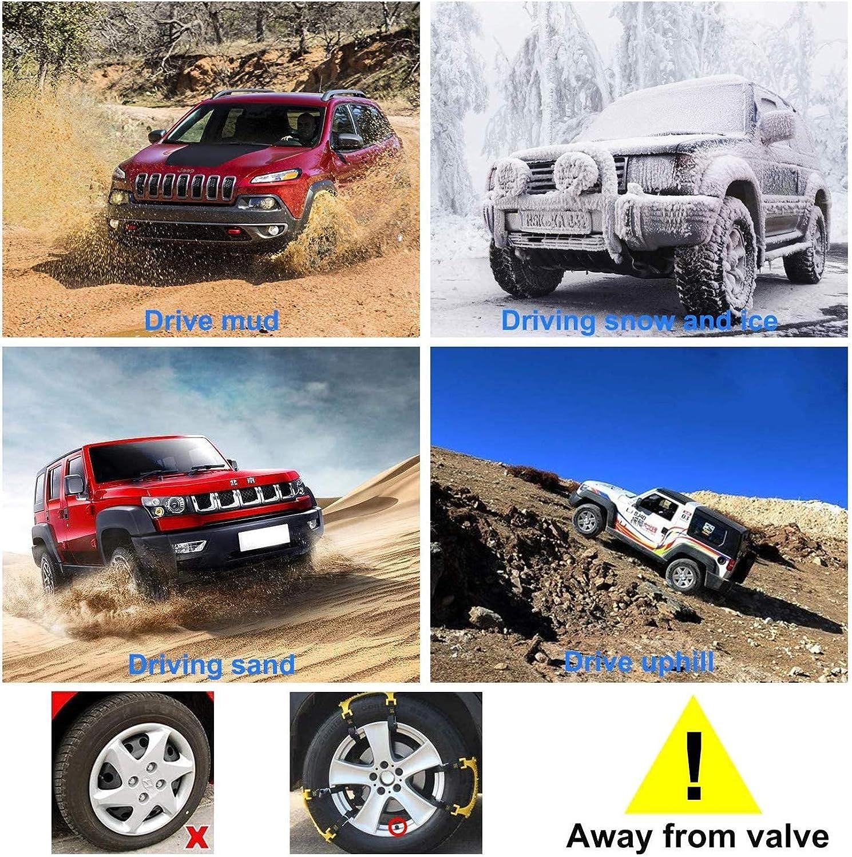 Amarillo 6 Cadenas universales para neum/áticos 165-275 mm // 6,49-10,9  Ajustables para Coches//Camiones//SUV TTLIFE Cadenas de Nieve para Coche Juego de Cadenas Antideslizantes de Emergencia