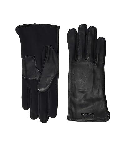 Calvin Klein Embossed Half Leather Glove (Black) Over-Mits Gloves