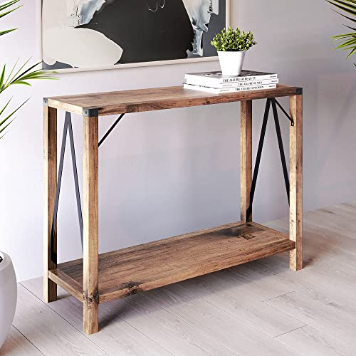 2021 Landia Home Console Table with Storage – Industrial Design Sofa Table with a Shelf high quality high quality and Metal Plated Table Top Edges sale