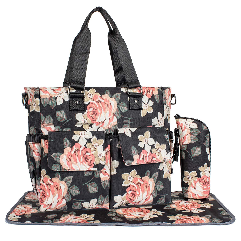 Womens Large Floral Waterproof Diaper Bag Baby Bag Handbag for Mom Tote Changing Pad Black