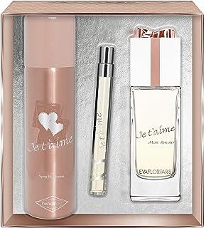 Evaflorparis Je TAime Mon Amour Gift Box Eau de Parfum 100 Ml + Déodorant 150 Ml + Pocket Atomizer 12 Ml Set Women Spray ...