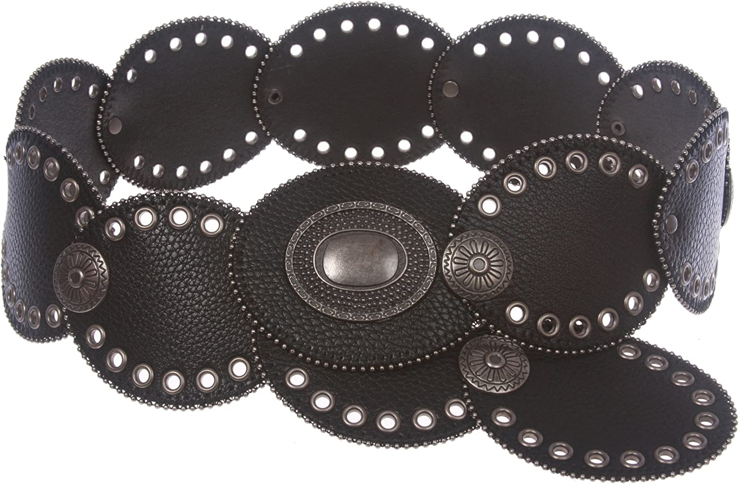 3 1 4  Wide Boho Oval Disc Concho Leather Disk Link Fashion Belt, Black   1X  58 1 2 ENDTOEND