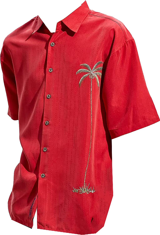 Bamboo Cay Mens Short Sleeve Hawaiian Casual Embroidered Woven Shirts