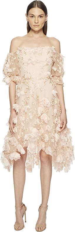 Marchesa Notte - Off the Shoulder 3D Embroidered Cocktail w/ Blouson Sleeves