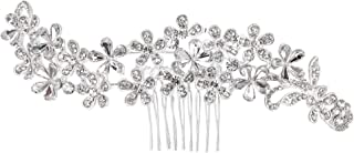 BriLove Wedding Hair Accessories Crystal Multi Flower Cluster Leaf Vine Bling Bridal Hair Comb for Women Clear Silver-Tone