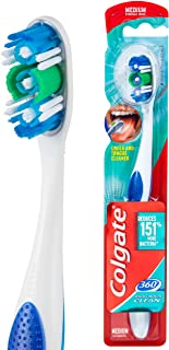 Colgate 360° Whole Mouth Clean Manual Toothbrush Medium Bristles with Cheek and Tongue Cleaner 1 Pack