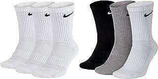 NIKE, Everyday CUSH Crew Calcetines para hombre, color blanco, gris, negro Blanco, gris, negro. 34-38