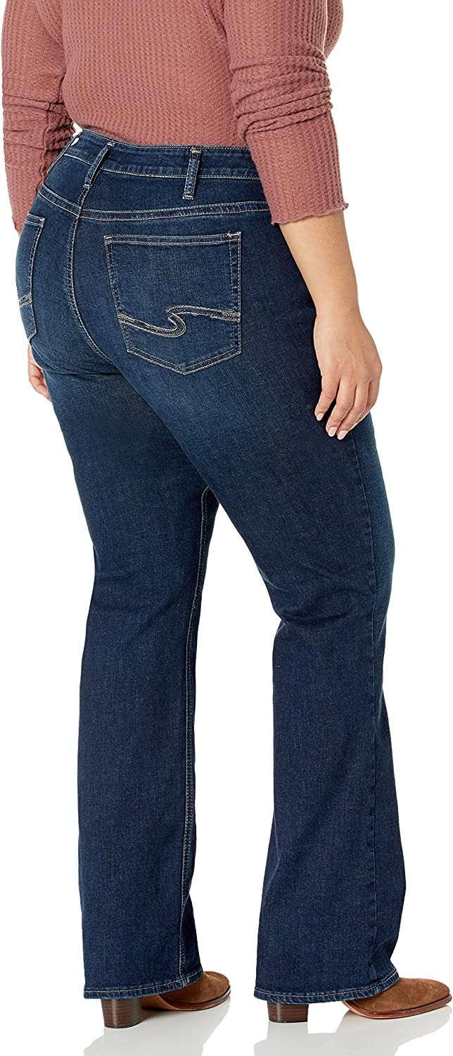 Silver Jeans Co Womens Plus Size Avery Curvy Fit High Rise Slim Bootcut Jeans