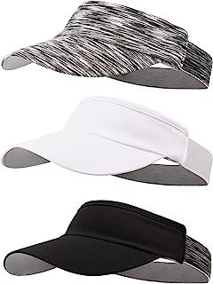 3 Pieces Visor Caps Adjustable Sun Visor Hat Sports Hat Lightweight Quick Dry Hat for Women Men Golf Tennis Cycling Runnin...