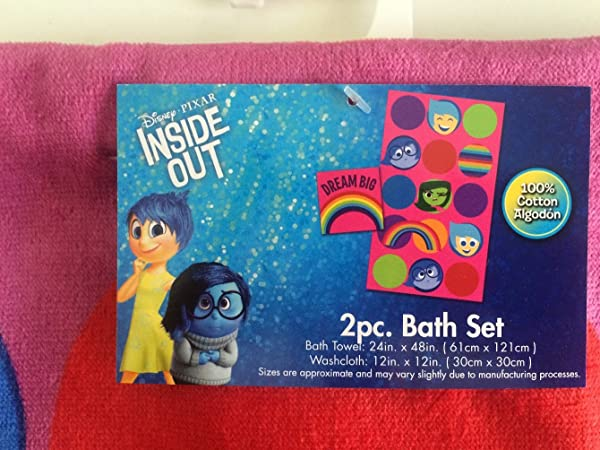 Disney Inside Out 2 Pc Bath Towel Wash Cloth Set