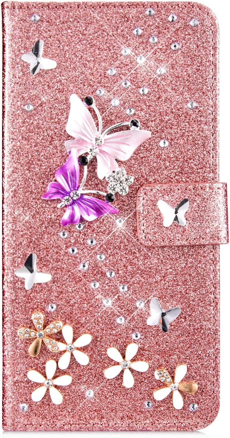 IKASEFU Compatible with iPhone 6 Plus//6S Plus Case Glitter Shiny butterfly Rhinestone Floral Pu Leather Diamond Flash Bling Wallet Strap Case with Card Holder Magnetic Kickstand Flip Cover Case,Pink