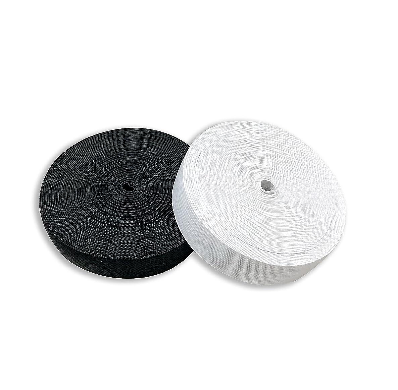 Secret Life 1-Inch by 20-Yard Flat Elastic band cord spool sewing, 10 yard black, 10 yard white (2.5 cm) (20 Yards, 10 Black & 10 White)