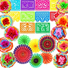 Zhanmai 26 Pieces Cinco De Mayo Decorations Colorful Hanging Paper Fans Fiesta Plastic Banners Fiesta Tissue Pom Paper Flowers for Mexican Party Birthday Wedding Bridal Baby Shower Carnival