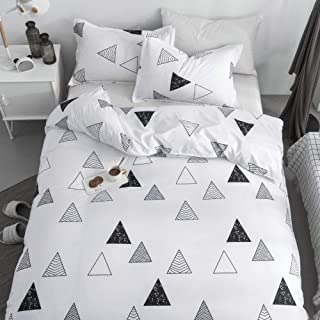 KFZ Triangle Geometry White Duvet Cover Set, 3PCS Bedding Set Full Size with One Comforter Cover (Without Duvet Insert),2 Pillowcases in Standard Size, Modern Themed, Breathable Bed Set for Kids Teens