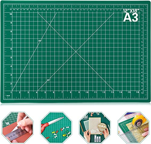 """Self Healing Sewing Mat, Anezus 12"""" x 18"""" Rotary Cutting Mat Double Sided 5-Ply Craft Cutting Board for Sewing Crafts..."""