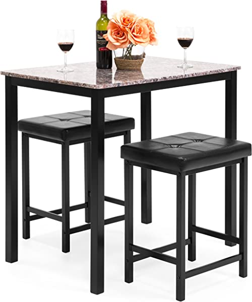 Best Choice Products Marble Veneer Kitchen Table Dining Set W 2 Counter Stools Brown