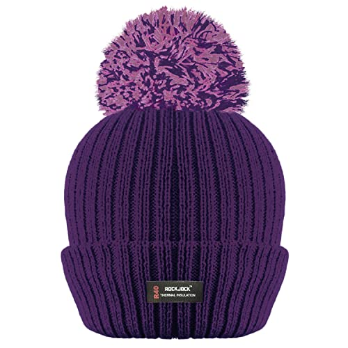 ROCKJOCK R40 LADIES WOMENS WINTER POM POM RIBBED BEANIE HAT WITH ADVANCED  THERMAL INSULATION da1fcc32bd4