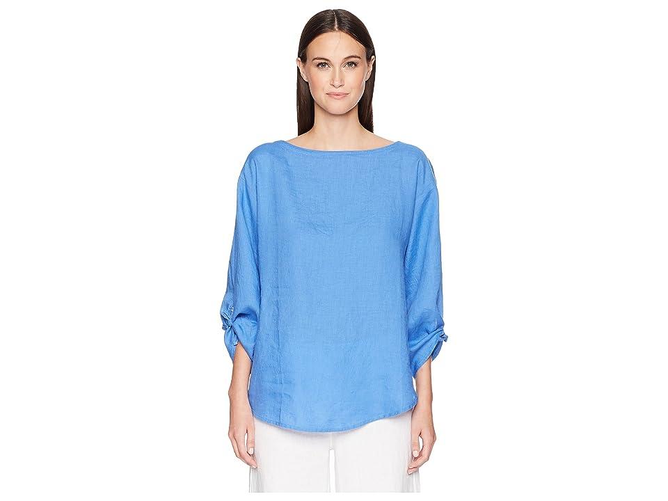 Eileen Fisher Organic Linen Tie-Sleeve Top (Blue Bell) Women