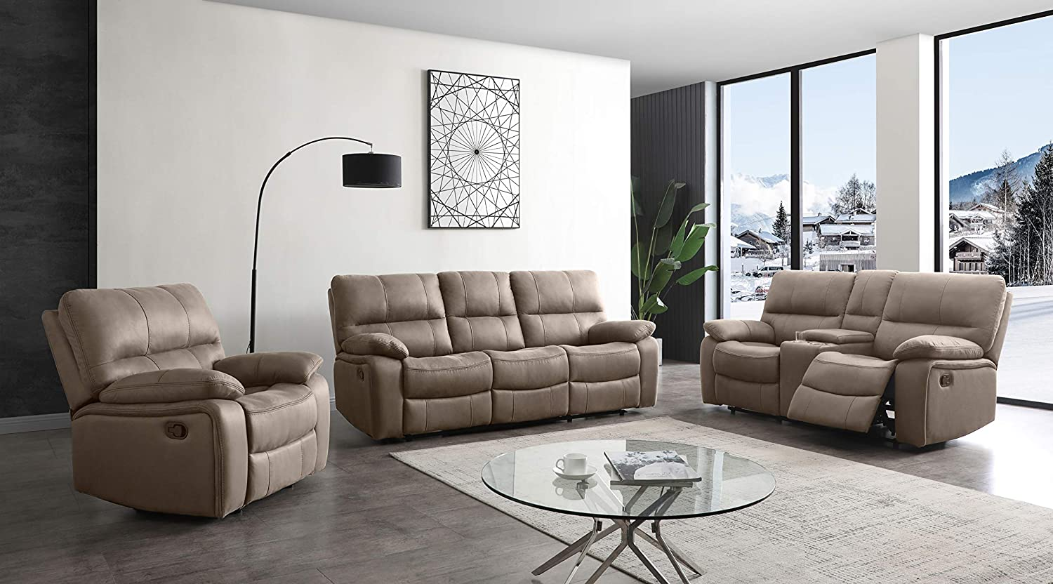 Betsy Furniture Microfiber Reclining Sofa Couch Set Living Room Set 8007 (Taupe, Sofa+Loveseat+Recliner)