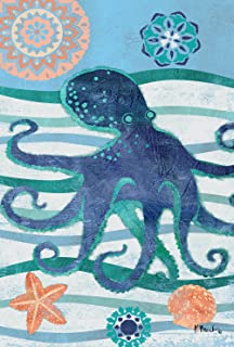 Toland Home Garden Oceanic Octopus 12.5 x 18 Inch Colorful Summer Ocean Seashell Starfish Garden Flag