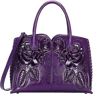 pijushi designer floral purse women s genuine leather tote handbags 65102 (violet)
